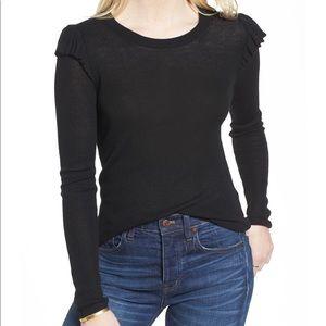 Madewell Sweater Ruffle Shoulder Sleeve EUC XS